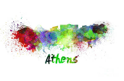 Greece Watercolor Painting - Athens Skyline In Watercolor by Pablo Romero