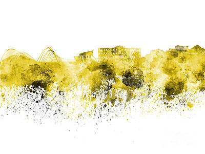 Greece Watercolor Painting - Athens Skyline In Yellow Watercolor On White Background by Pablo Romero