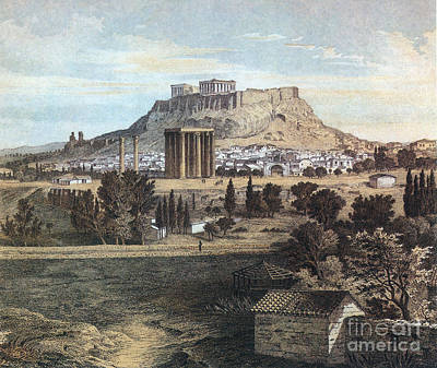 Athens With The Acropolis Print by Photo Researchers