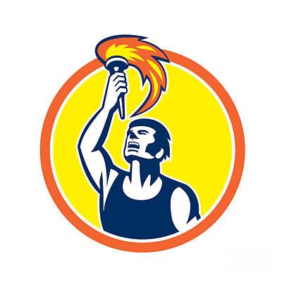 Raising Digital Art - Athlete Player Raising Flaming Torch Circle Retro by Aloysius Patrimonio