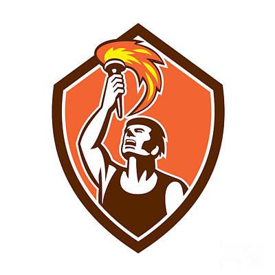 Raising Digital Art - Athlete Player Raising Flaming Torch Shield Retro by Aloysius Patrimonio