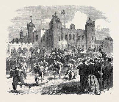 Athletic Drawing - Athletic Games At The Royal Military Academy Woolwich by English School