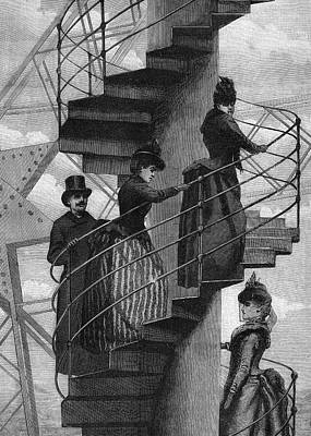 Eiffel Tower Drawing - Athletic Types Walking Up The  Spiral by Mary Evans Picture Library