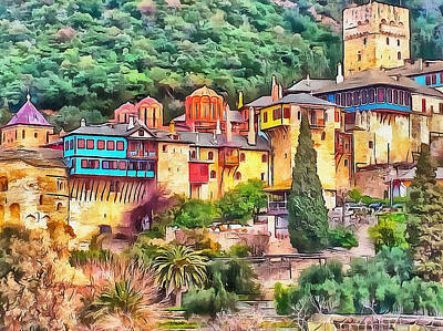 Digital Art - Athos Monastery Greece 1 by Yury Malkov