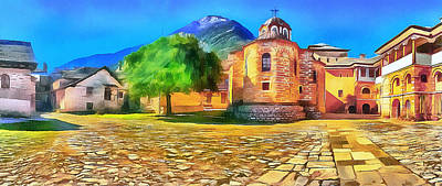 Digital Art - Athos Monastery Greece 10 by Yury Malkov