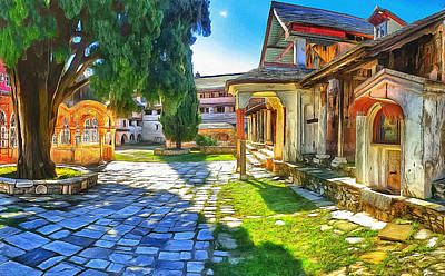 Digital Art - Athos Monastery Greece 11 by Yury Malkov