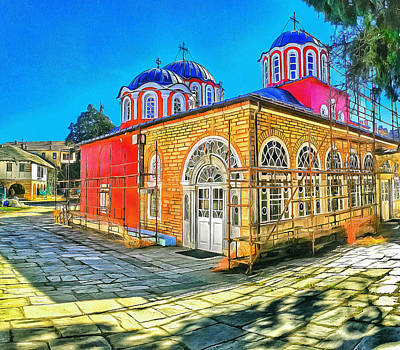 Digital Art - Athos Monastery Greece 13 by Yury Malkov