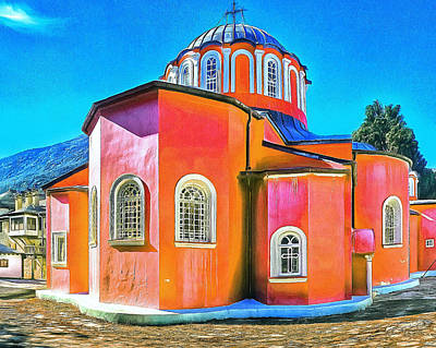 Digital Art - Athos Monastery Greece 14 by Yury Malkov