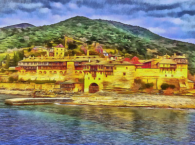 Digital Art - Athos Monastery Greece 2 by Yury Malkov