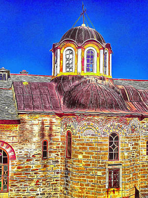 Digital Art - Athos Monastery Greece 27 by Yury Malkov