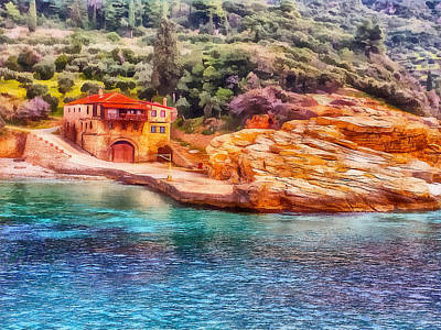 Digital Art - Athos Monastery Greece 3 by Yury Malkov