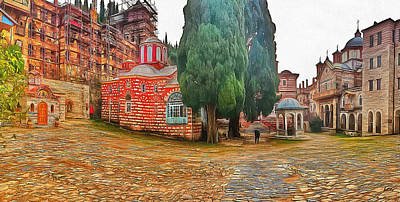 Digital Art - Athos Monastery Greece 7 by Yury Malkov