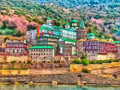 Digital Art - Athos Monastery Greece 9 by Yury Malkov
