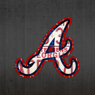Atlanta Braves Baseball Team Vintage Logo Recycled Georgia License Plate Art Art Print by Design Turnpike