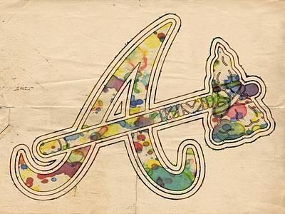 Baseball Painting - Atlanta Braves Vintage Logo by Florian Rodarte