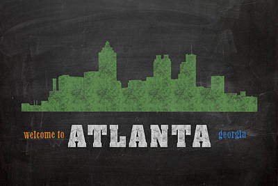 Chalk Mixed Media - Atlanta City Skyline Chalkboard Chalk Art by Design Turnpike