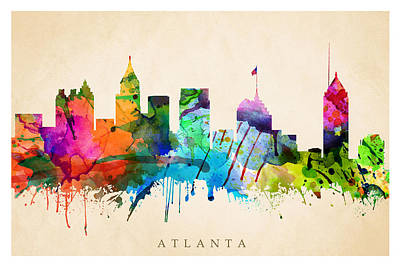Digital Art - Atlanta Cityscape by Steve Will