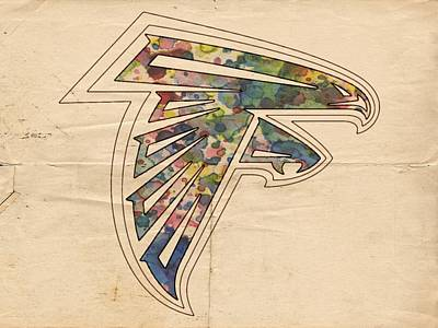 Watercolor Painting - Atlanta Falcons Poster Vintage by Florian Rodarte