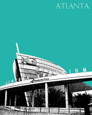 Atlanta Georgia Aquarium - Teal Green Art Print
