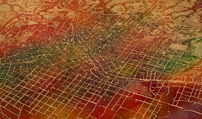 Atlanta Georgia City Street Map Watercolor From 1892 On Recovered Worn Parchment Paper Art Print