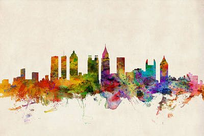 Watercolour Digital Art - Atlanta Georgia Skyline by Michael Tompsett