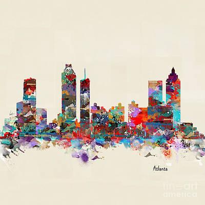 Painting - Atlanta Georgia Skyline Square by Bri B