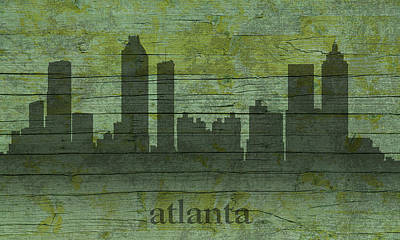 Atlanta Georgia Skyline Silhouette Distressed On Worn Peeling Wood Art Print