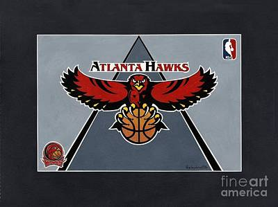 Atlanta Hawks T-shirt Art Print by Herb Strobino