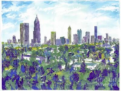 Atlanta City Painting - Atlanta In Cool Colors by Patrick Grills