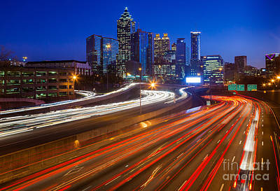 Traffic Photograph - Atlanta Interstate I-85 By Night by Inge Johnsson
