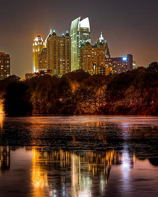 Photograph - Atlanta. Night Piedmont Park Lake. by Anna Rumiantseva