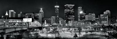 Sports Royalty-Free and Rights-Managed Images - Atlanta Panoramic Black and White by Frozen in Time Fine Art Photography