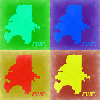 Country Art Mixed Media - Atlanta Pop Art Map 2 by Naxart Studio