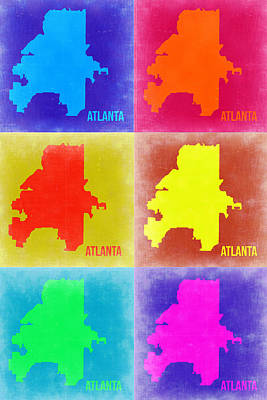 Country Art Mixed Media - Atlanta Pop Art Map 3 by Naxart Studio