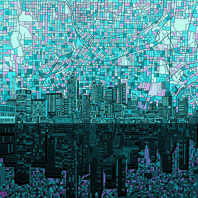 Painting - Atlanta Skyline Abstract 2 by Bekim Art