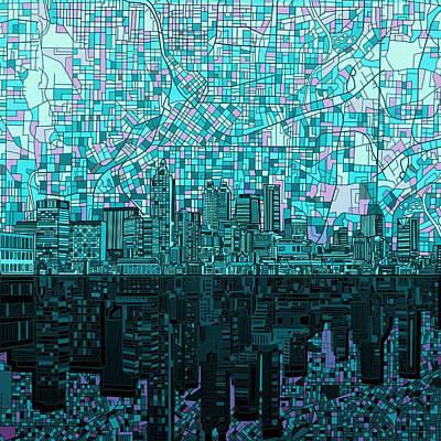 City Map Painting - Atlanta Skyline Abstract 2 by Bekim Art