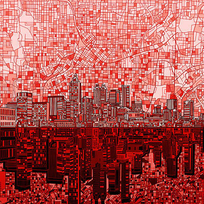 Painting - Atlanta Skyline Abstract 4 by Bekim Art
