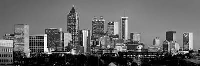 Photograph - Atlanta Skyline At Dusk Downtown Black And White Bw Panorama by Jon Holiday