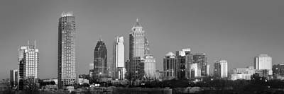 Photograph - Atlanta Skyline At Dusk Midtown Black And White Bw Panorama by Jon Holiday