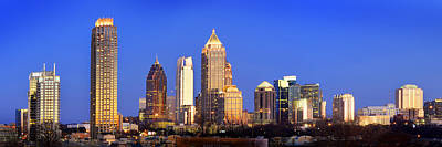 Photograph - Atlanta Skyline At Dusk Midtown Color Panorama by Jon Holiday