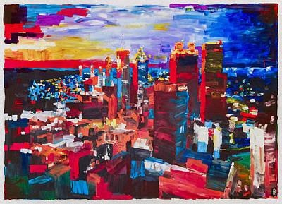 Atlanta City Painting - Atlanta Skyline Evening by Michael Leporati