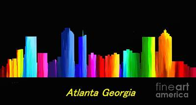 Painting - Atlanta Skyline by Guy  Cannon
