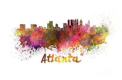 Atlanta Painting - Atlanta Skyline In Watercolor by Pablo Romero