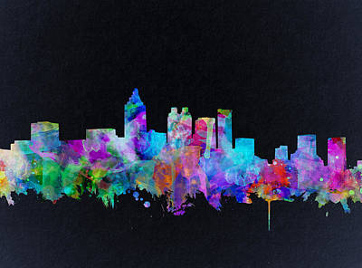 Painting - Atlanta Skyline Watercolor 2 by Bekim Art