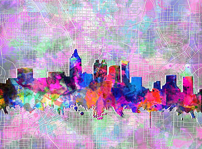 Painting - Atlanta Skyline Watercolor 4 by Bekim Art