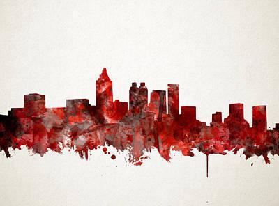 Painting - Atlanta Skyline Watercolor Red by Bekim Art