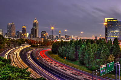 Photograph - Atlanta Sundown Night Lights Art by Reid Callaway