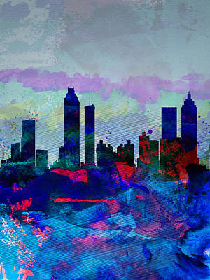 Architectural Painting - Atlanta Watercolor Skyline by Naxart Studio