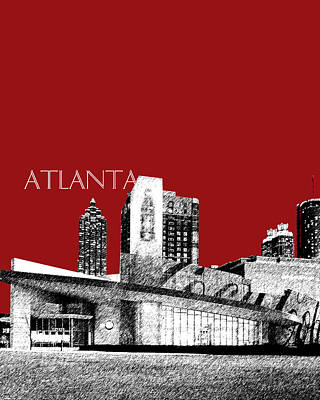 Pen And Ink Digital Art - Atlanta World Of Coke Museum - Dark Red by DB Artist