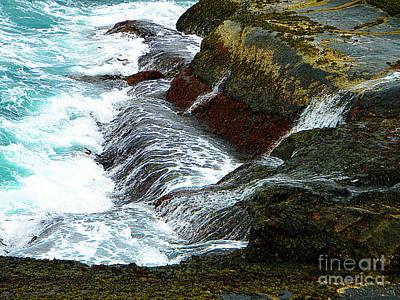 Atlantic Blue On The Rocks Art Print by Lorraine Heath